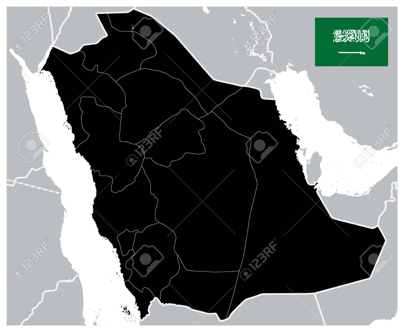 Black Color Saudi Arabia Map Blank Map Image Contains Layers With Administrative Divisions M Vector Illustration Infographic Design Administrative Division