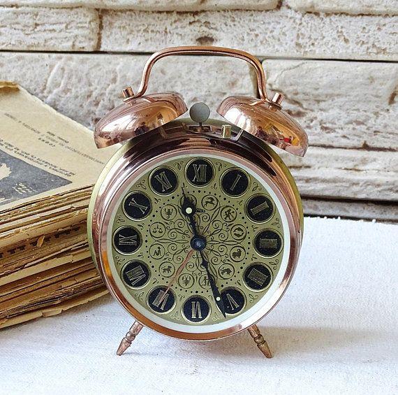 Vintage Alarm Clock Prim Working Copper Alarm Clock Retro ...