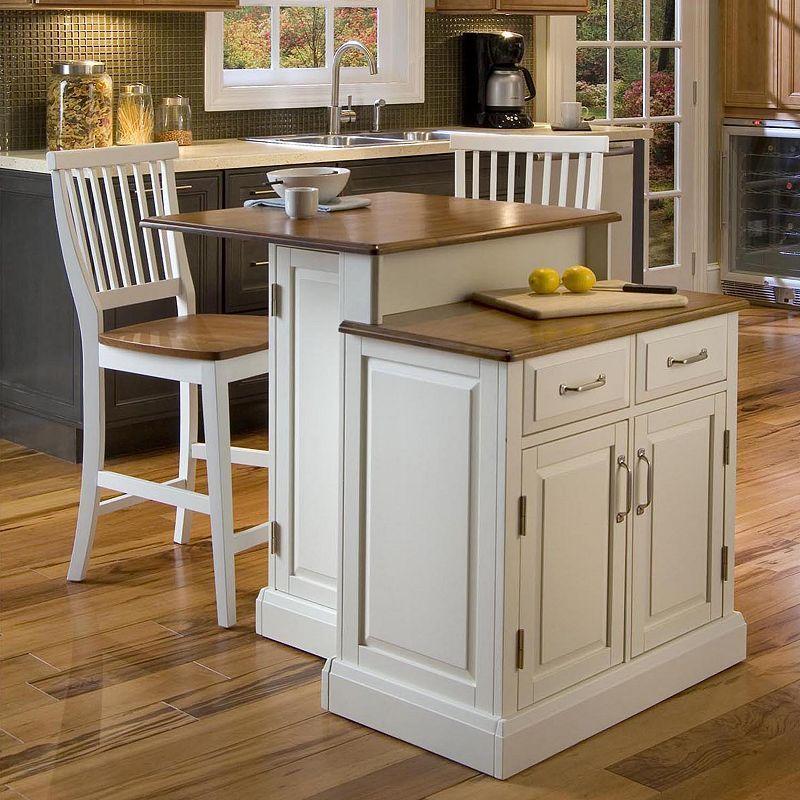 Woodbridge Two Tier Kitchen Island With Stools Portable Kitchen Island Antique White Kitchen White Kitchen Island