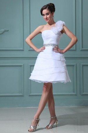 Fall One Shoulder Apple Hourglass Flowers Spring Romantic Zipper Up Misses White Evening Dress