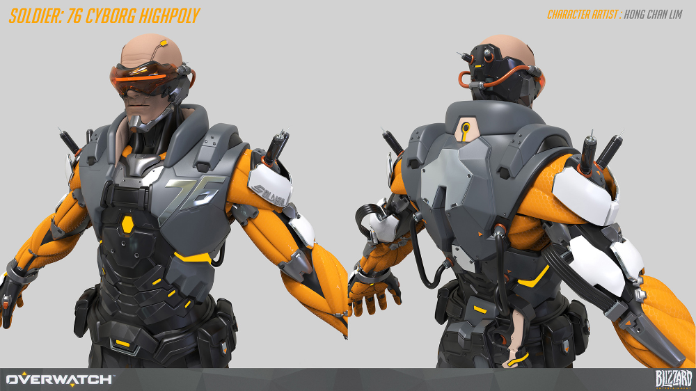 ArtStation Overwatch Soldier76 high poly, Hong