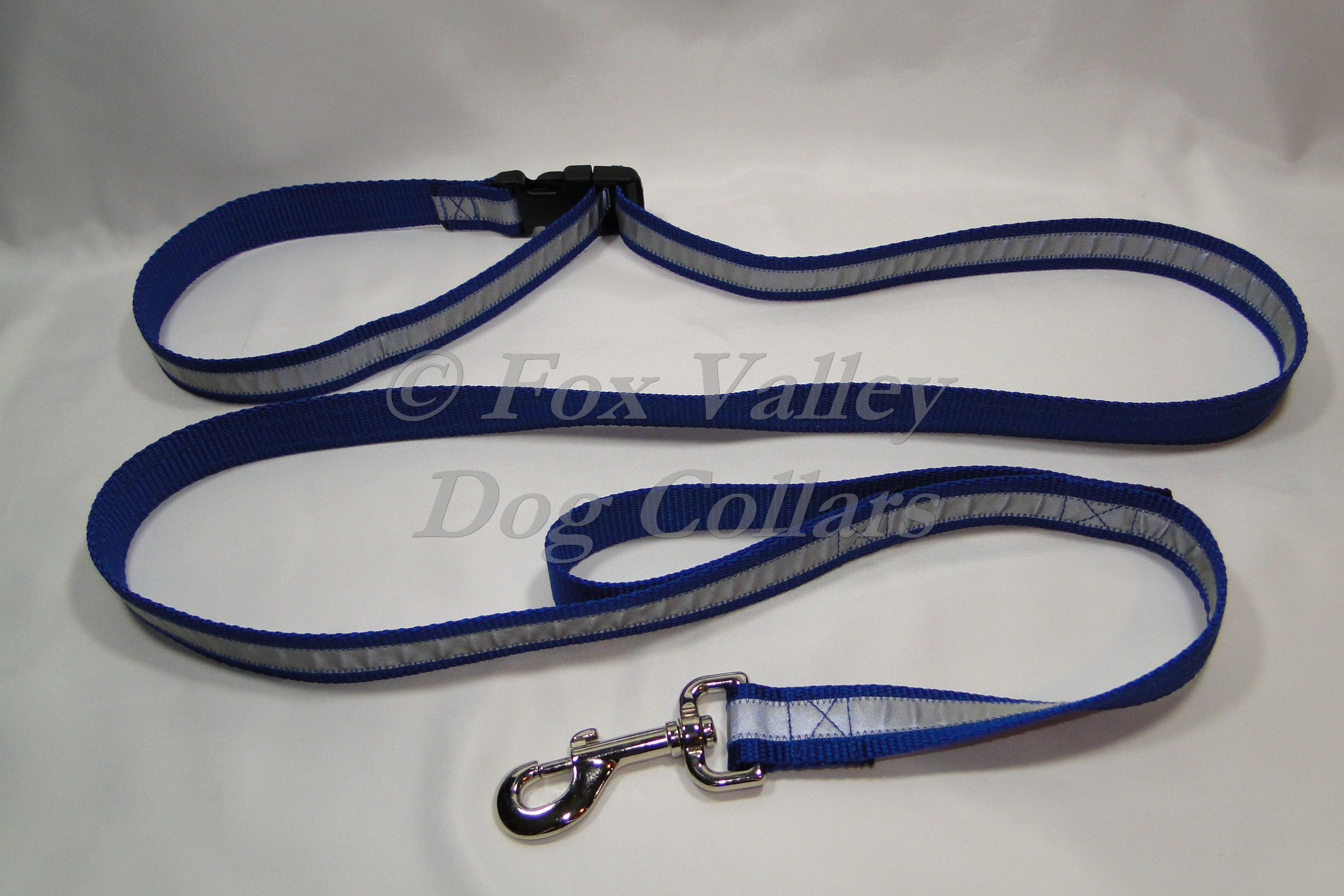 """1"""" X 6' nylon custom adjustable reflective leash includes a traffic handle for more control in crowded places! Made with authentic Scotchlite 3M reflective material and right here in the USA!  Available in seven colors!  $32.00"""