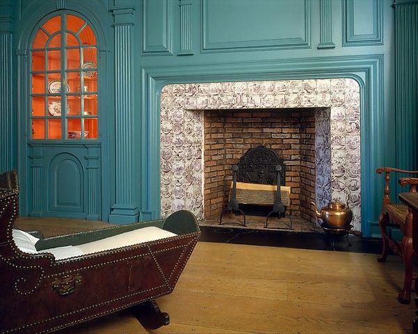 Fireplace wall paneling from the John Hewlett House, 1740-60, Woodbury, New York.