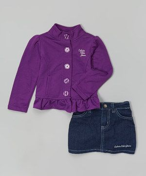 This Purple Ruffle Jacket & Denim Skirt - Toddler & Girls by Calvin Klein Jeans is perfect! #zulilyfinds