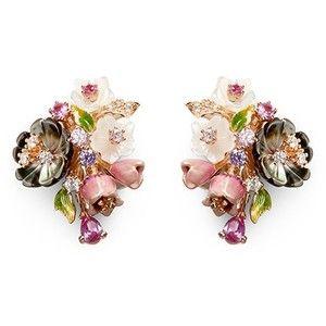 Anabela Chan 'Bouquet' diamond mother of pearl stud earrings