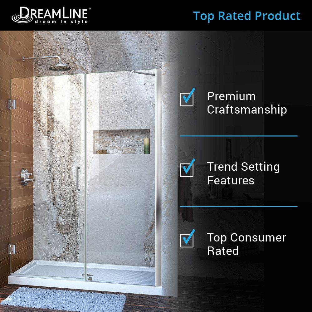 Dreamline Unidoor 58 In To 58 In W Frameless Satin Black Hinged