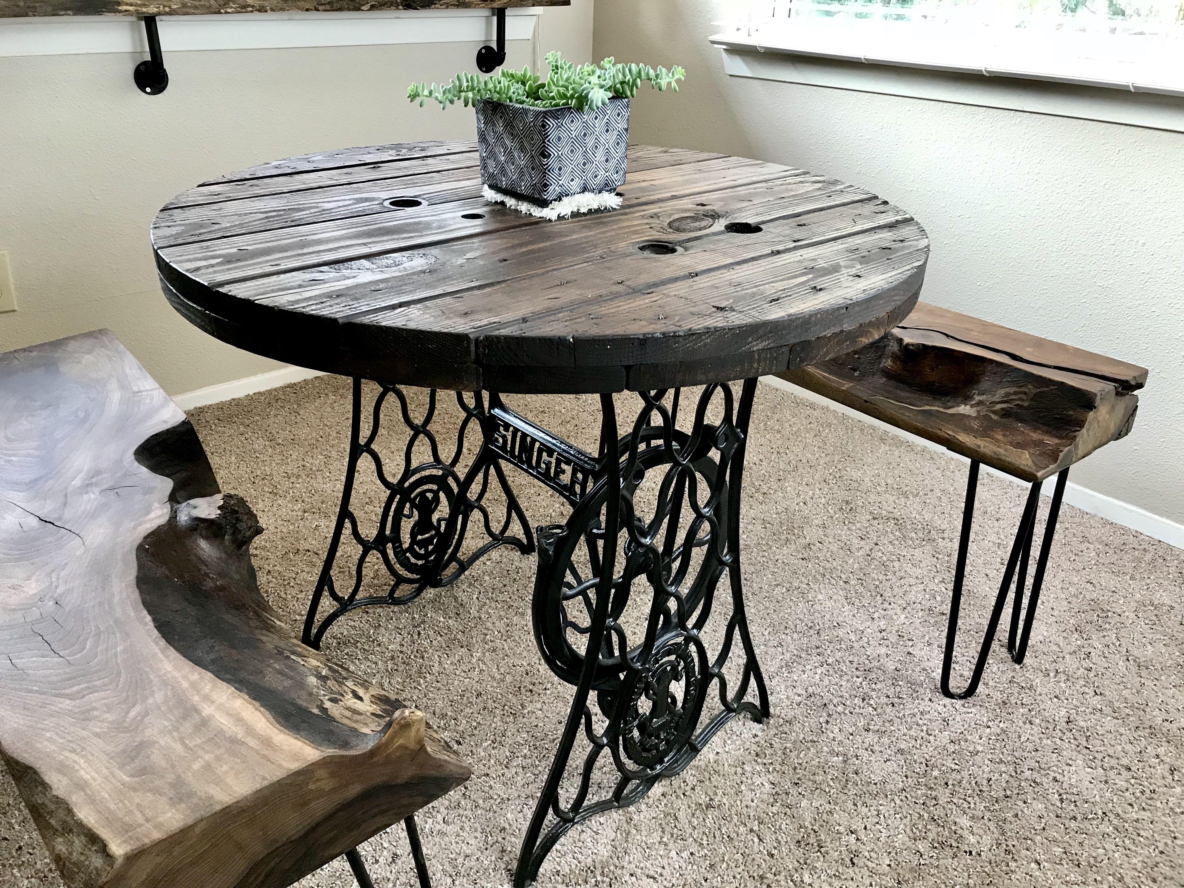 Terrific Vintage Kitchen Table Made From A Singer Treadle Sewing Lamtechconsult Wood Chair Design Ideas Lamtechconsultcom