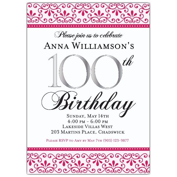 Pink Scroll 100th Birthday Invitations Birthday Invitation Templates Birthday Invitations Birthday Party Invitation Templates