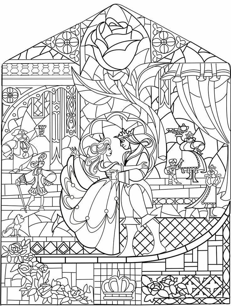 A Bela E A Fera Vitral Paginas Para Colorir Da Disney