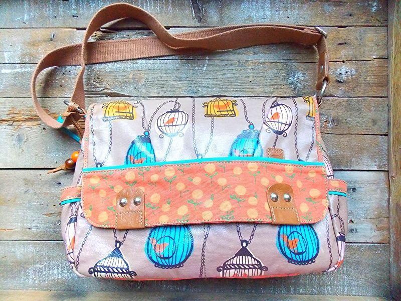 Fossil Key-Per Birdcage Coated Canvas XL Tote Utility Diaper Weekender Messenger #Fossil #MessengerCrossBody