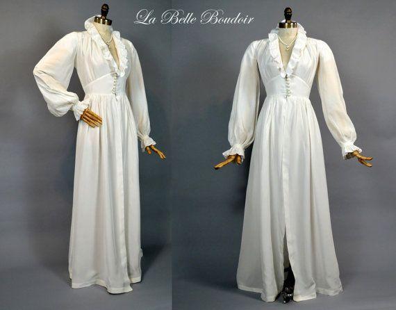 16cf493790 Hollywood Dressing Gown ~ Vintage 1940s White Wedding Robe ~ Floor Swept  Full Skirt ~ Huge Puffy Sleeves