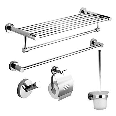 137 93 Bathroom Accessory Set Contemporary 211 Stainless Steel Wall Mounted Bath Accessories Set Bath Accessories Steel Hardware