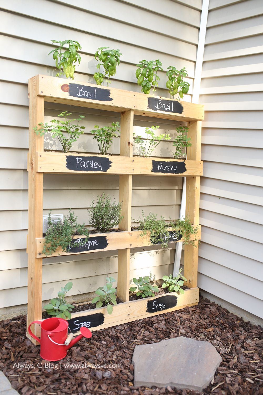 Pallet herb garden diy the pink lemonade blog home and for Gardening using pallets