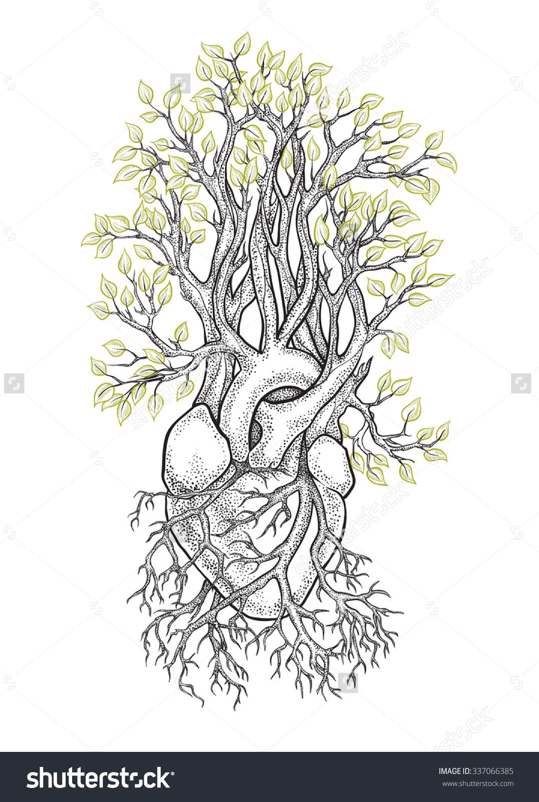 Human Anatomical Heart With Veins Like Roots From Which Grows A
