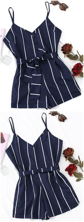 Up to 80% OFF! Striped Belted Cami Romper. #Zaful #Jumpsuits #Romper zaful,zaful outfits,zaful dresses,spring outfits,summer dresses,Valentine's Day,valentines day ideas,valentines outfits,cute,casual,classy,fashion,style,bottoms,shorts,jumpsuits,rompers,playsuits,playsuit outfit,dressy jumpsuits,playsuits two piece,two piece outfits,two piece dresses,dresses,printed dresses,sundresses,long sleeve dresses,mini dresses,maxi dresses,lace dress,bohemian dresses @zaful Extra 10% OFF Code:ZF2017 #backlesscocktaildress