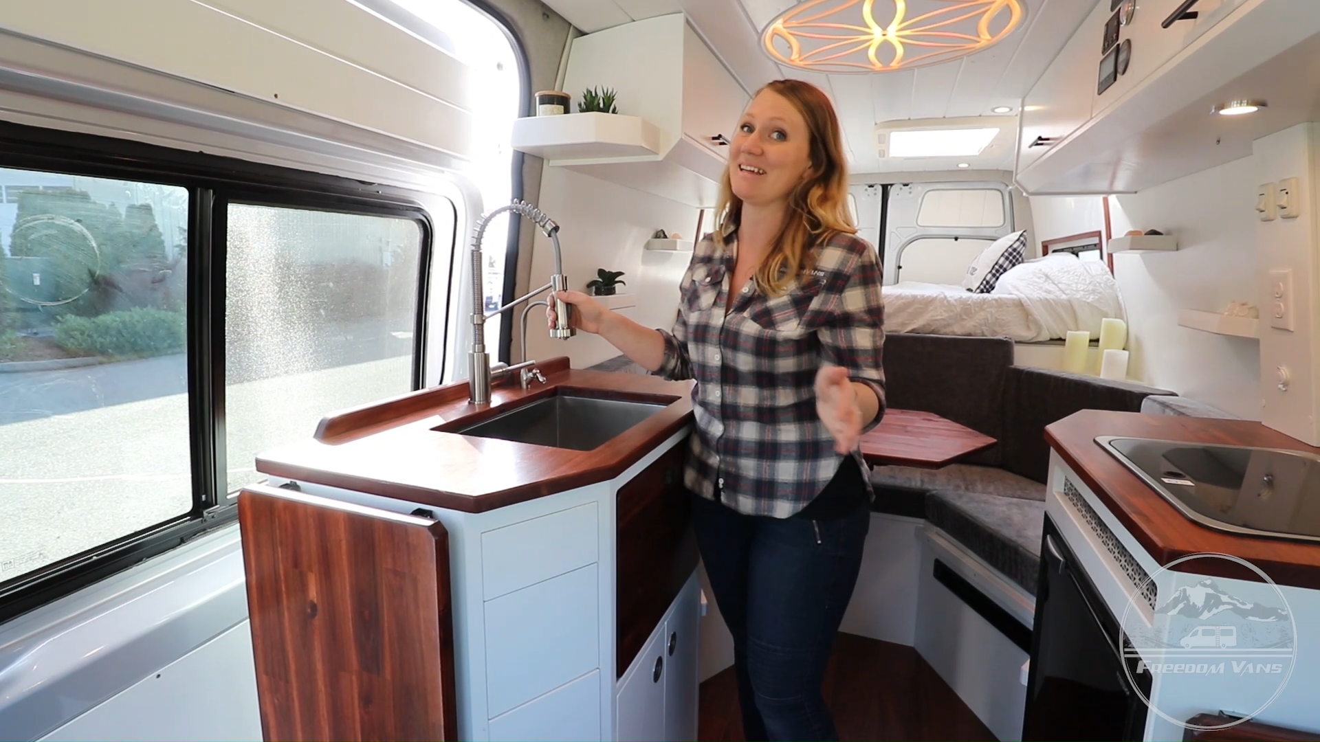 This van conversion, inspired by sacred geometry, is one of Freedom Vans' most unique builds yet! You can find out more information on the project gallery of our website. #van #vanlife #sprintervan #sprinterconversion #freedomvans