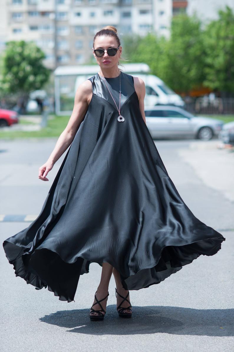 Black Satin Dress Plus Size Clothing Loose Maxi Dress Etsy Summer Evening Dress Black Satin Dress Plus Size Black Dresses [ 1190 x 794 Pixel ]