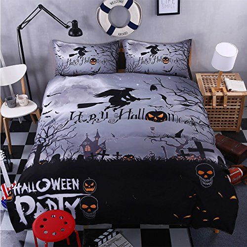 Bomcom 3d Digital Printing Witch Flying In Full Moon Night Sky Over Graveyard 3 Piece Duvet Cover Sets 100 M Halloween Bedding Queen Bedding Sets Bedding Sets