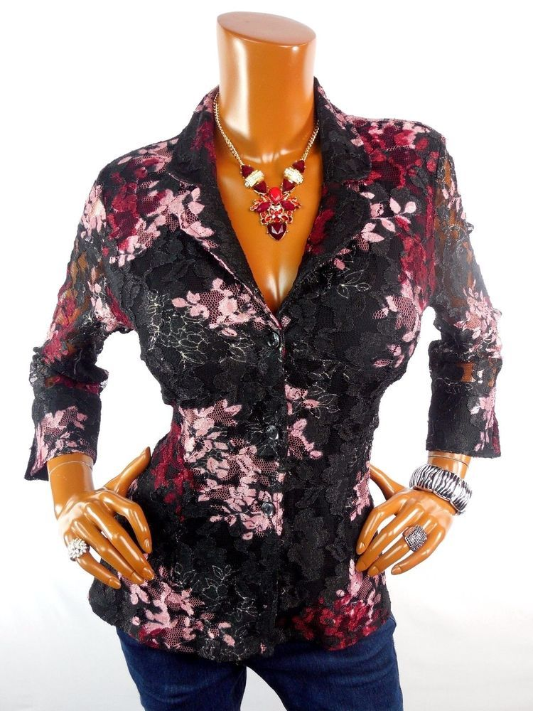 6348724b INC Womens Top L SEXY Lace Button Down Blouse Casual Shirt Black Red Pink  Lined #INCInternationalConcepts #Blouse #Casual