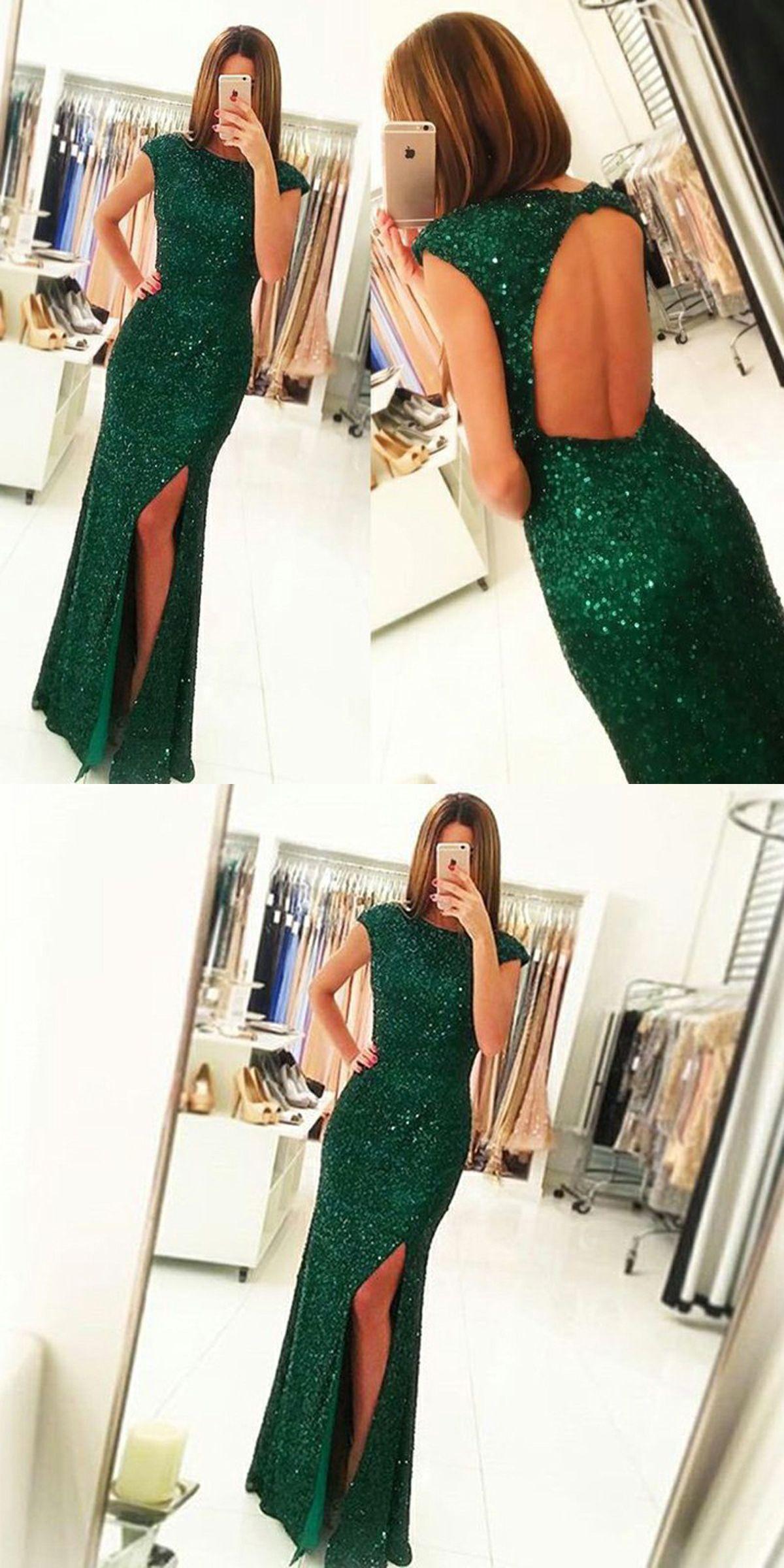 Sheath bateau open back dark green sequined prom dress with split