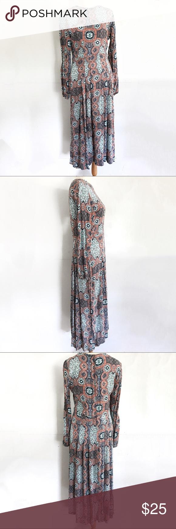 H&m pink pleated dress  HuM Long Sleeve Pleated Maxi Dress   Pleated maxi Maxi dresses