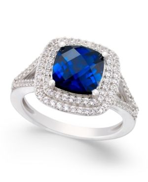 Lab Created Sapphire 2 1 2 Ct T W And White Sapphire 1 2 Ct T W Ring In Sterling Silver Products In 2019 White Sapphire Loose Sapphires Sapphire
