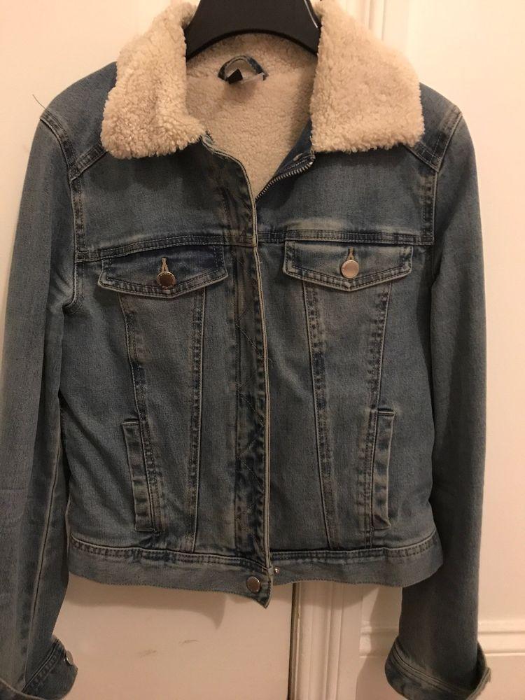 f0320e53f0b7 H M Lined Denim Jacket Womens Size 6  fashion  clothing  shoes ...