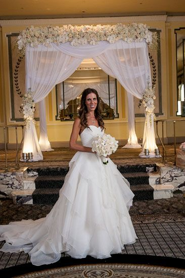 Chuppah Bride With Bouquet White Wedding Color Theme By Ariston Florist Nyc Mazelmoments