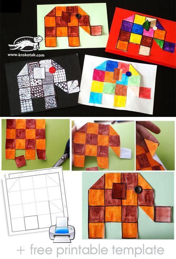 Squared elephants, sub plan, Elmer tie-in