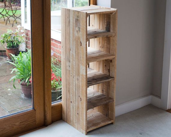 Tall shoe rack or shelf unit handmade with reclaimed pallet wood. With 6 deep sh...#deep #handmade #pallet #rack #reclaimed #shelf #shoe #tall #unit #wood