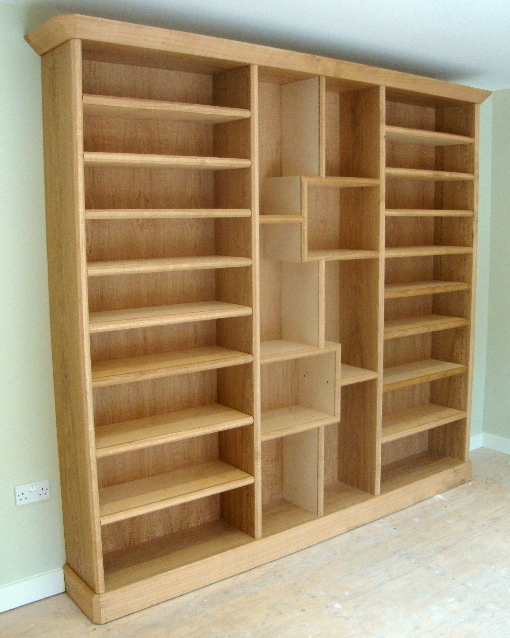 Oak Bookcase With Lots Of Angles Fairly Straight Forward But The Centre Section Proved Harder Than I Thought