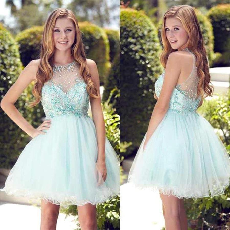 Rhinestone prom dresses light blue alineprincess homecoming