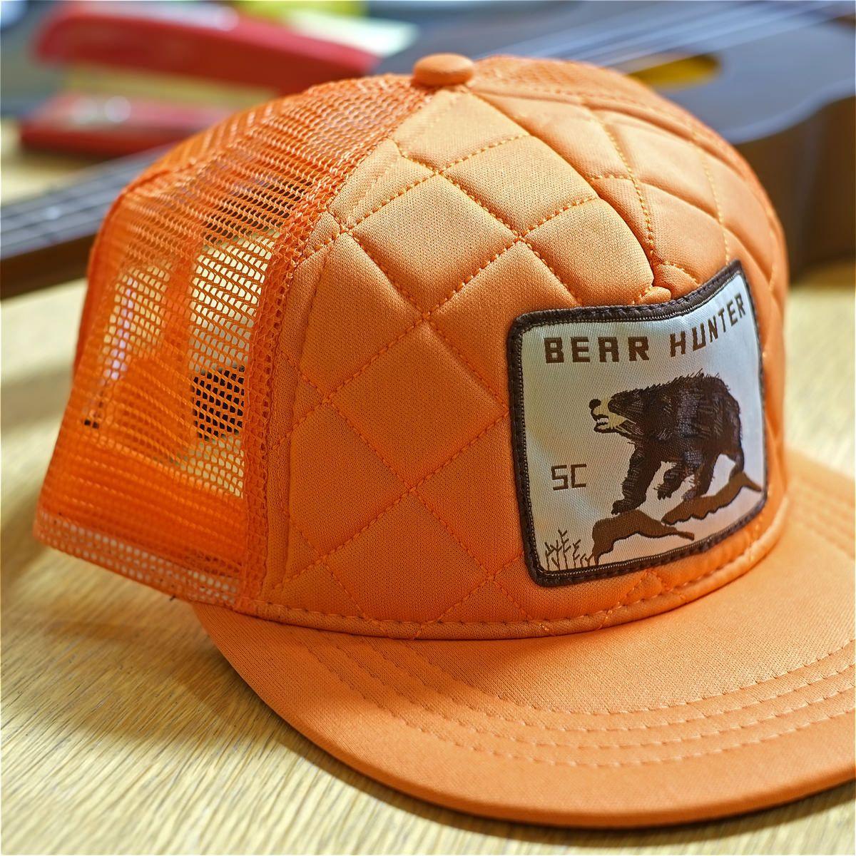 Spacecraft Bear Hunter Orange Trucker Hat Detail  99e7d62e353