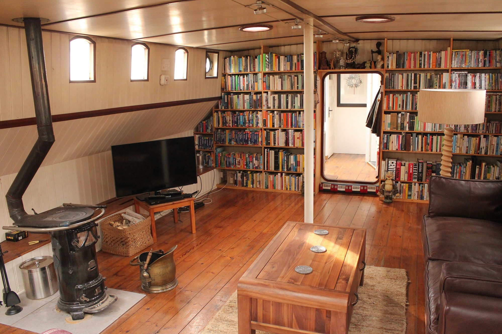 Converted dutch barge google search houseboat Home interior pictures for sale