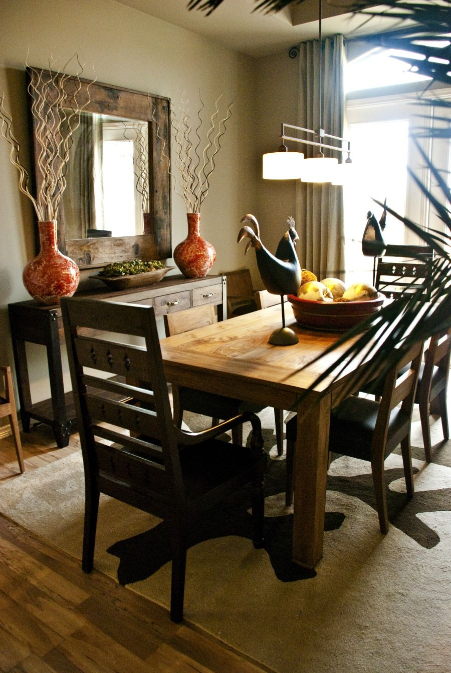 Rustic + contemporary = nice mix   Home, Dining room ...