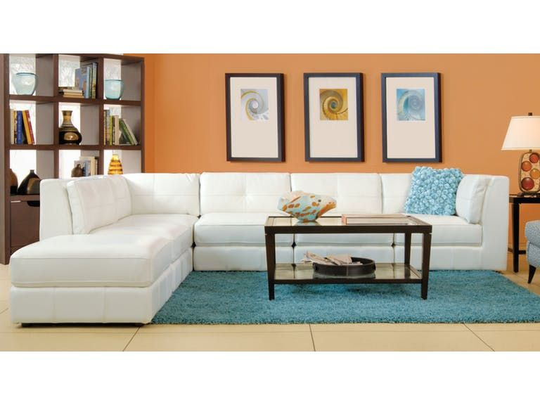 Fantastic Penthouse 6 Piece Leather Sectional Cream Living Room In Uwap Interior Chair Design Uwaporg