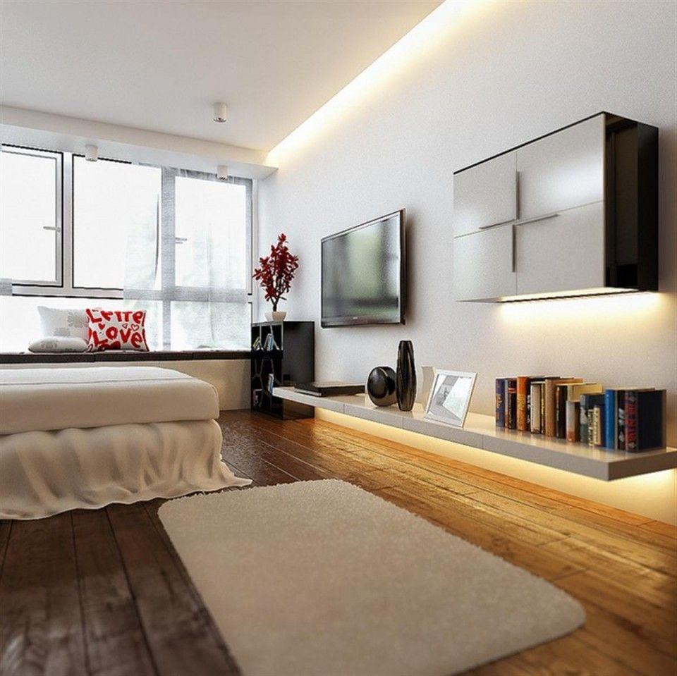 Modern Bedrooms Ideas By Koj Design Floating Shelf Unit With Led Lights