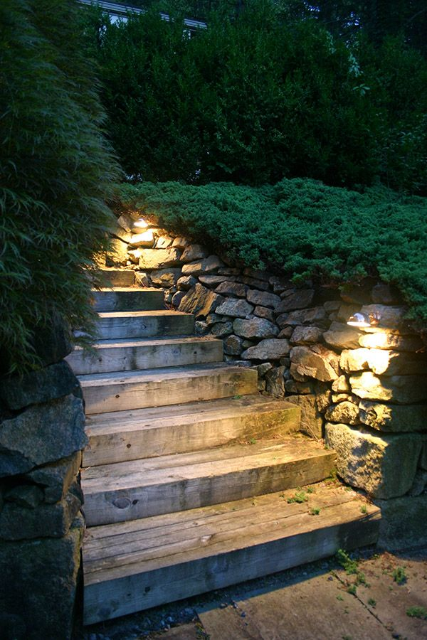 Outdoor Lighting Love The Subtle Spotlights On This Stairway Wonder How Hard Was To Wire But It Definitely Makes Path Easier Navigate