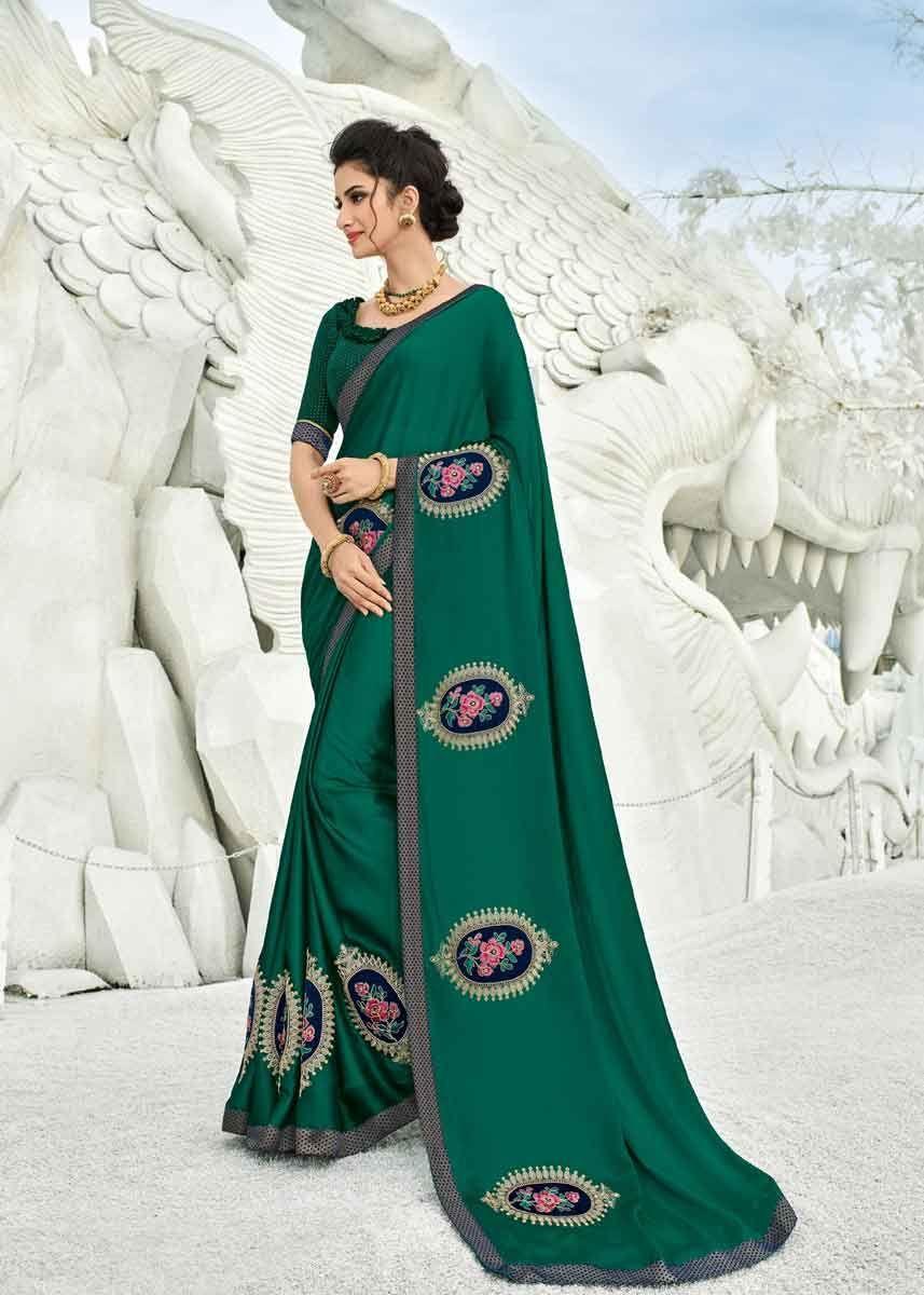 b6d8eeb59b4af9 Designer Green Color Two Tone Bright Georgette Party Wear Saree ...