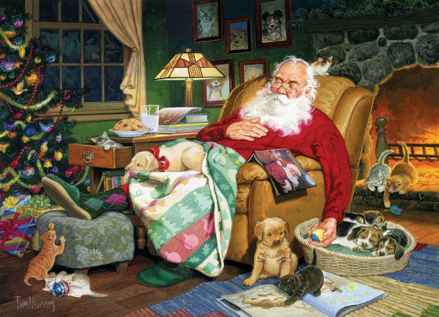 Puzzle Pere Noel Кладовка Левконои | Christmas images, Christmas art, Vintage