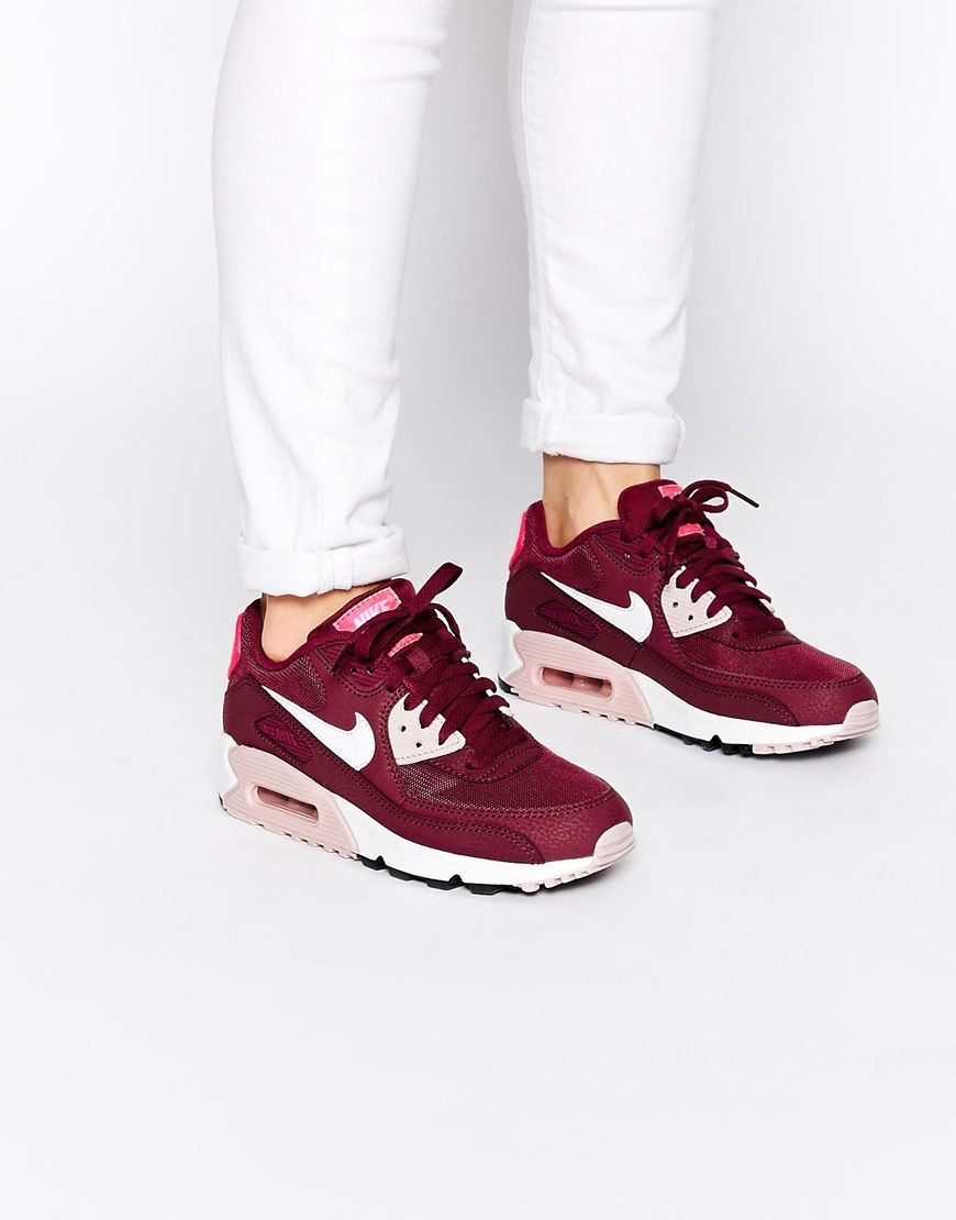 Image 1 of Nike Air Max 90 Essential Burgundy Trainers