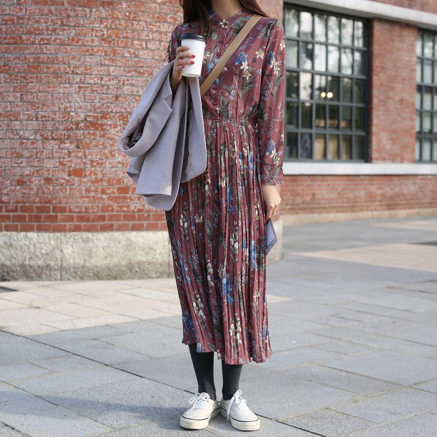 Mandarin Collar Floral Dress SKU #P000EWLC   패션 스타일. 패션