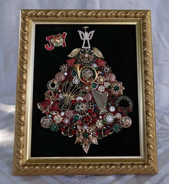 Hey, I found this really awesome Etsy listing at https://www.etsy.com/listing/207375700/framed-jeweled-christmas-tree-gorgeous