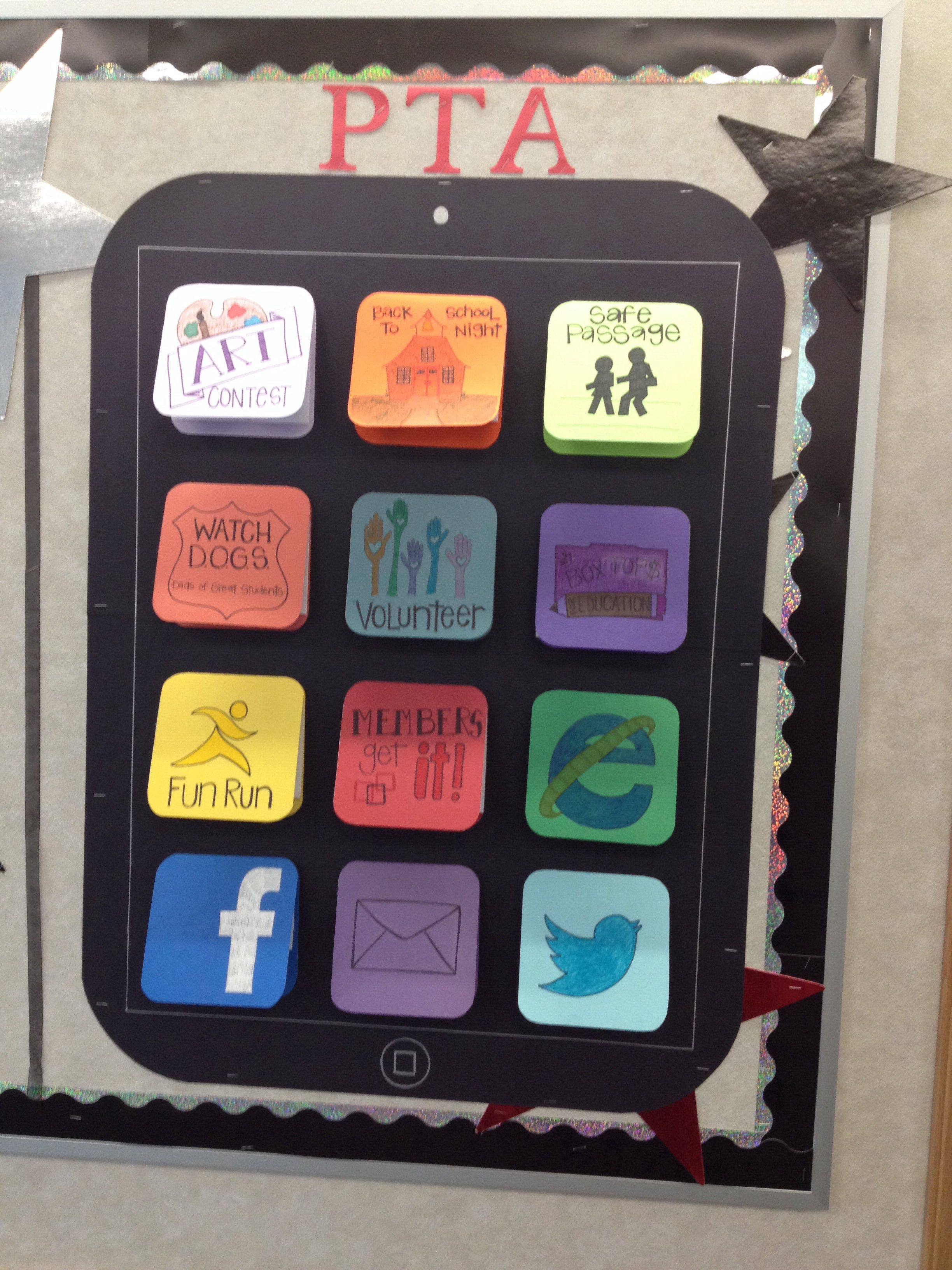 App bulletin board! So clever! Pta school, Pta