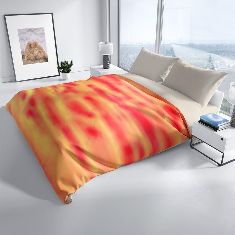 Orange Designer Duvet Cover Queen Colorful Microfiber Duvet Etsy Duvet Cover Design Queen Duvet Covers Duvet Covers