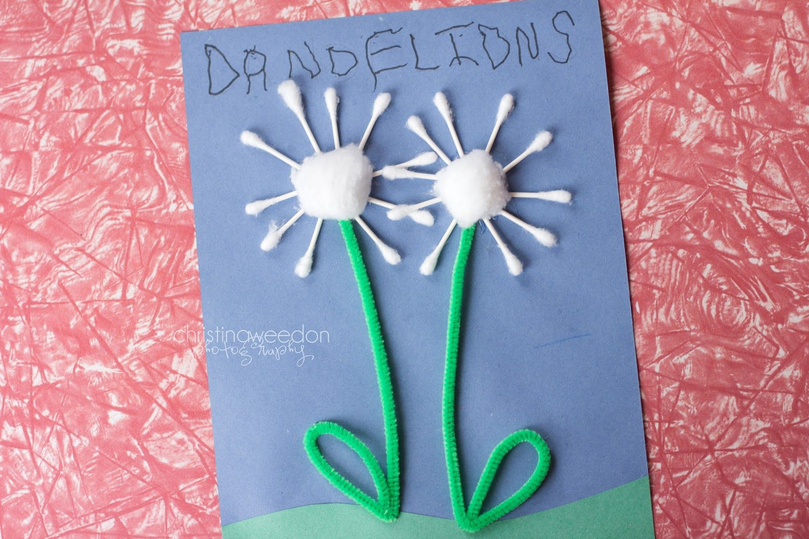 Dandelions on the wall homeschool the letter d crafts for Pusteblume basteln