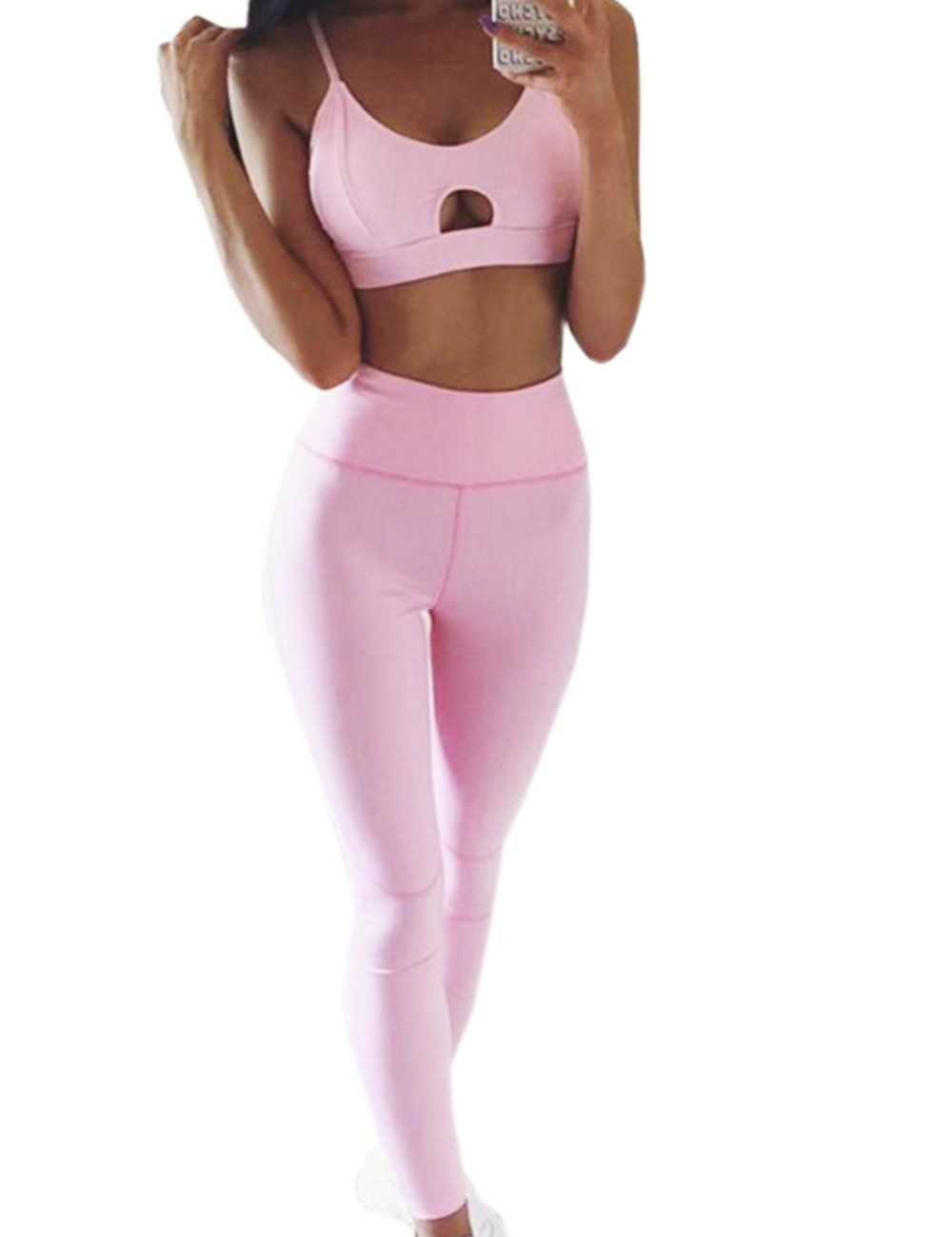 Women 2 PCS Sports Bra Pants Set Yoga Wear Set Racerback Bra and Leggings Tights