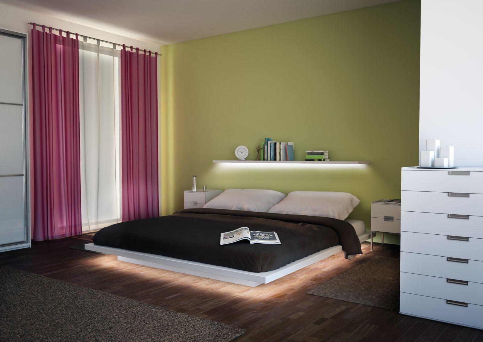 Beleuchtung für das Schlafzimmer. Mit dem LED Streifen Trend