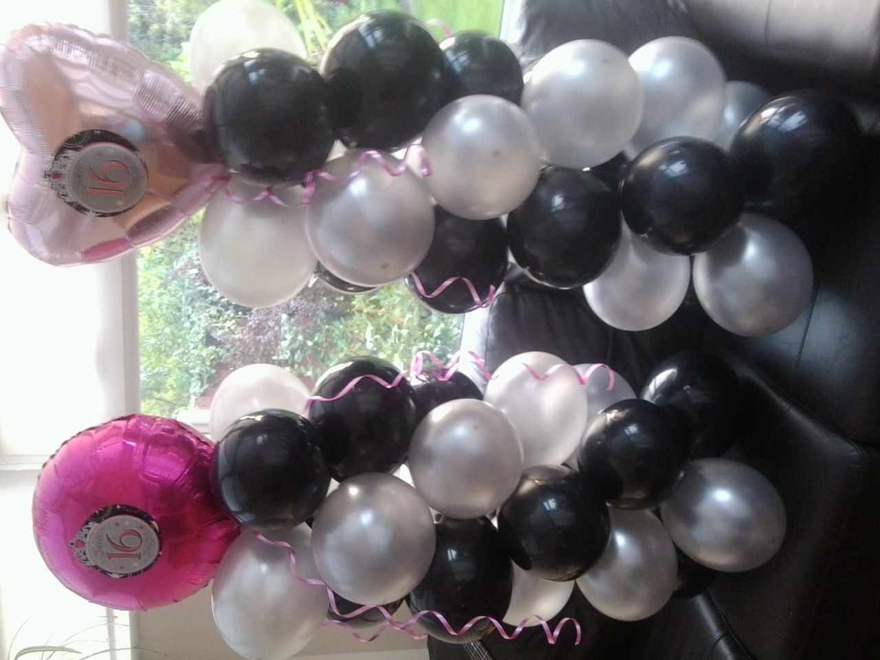 Sweet sixteen balloon decorations I made for my daughter