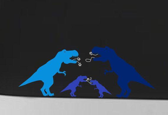 Dinosaur Family Car Decal Tyrannosaurus Velociraptor Etsy Family Car Decals Car Decals Largest Dinosaur